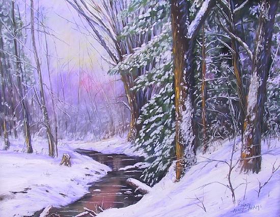 Sunset through the Winter Woods - Pastel