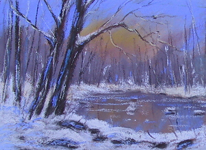 Winter Blues by Sandy Askey-Adams Pastel ~ 5 x 7