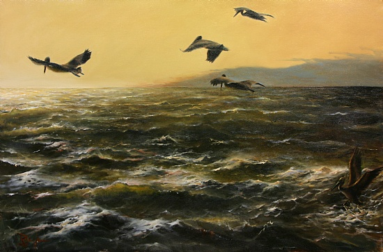 "South Point Pelicans by Ralph Grady James Oil ~ 24"" x 36"""