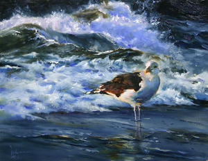 Great Black Backed Gull by Ralph Grady James Oil ~ 11 x 14