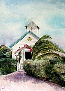 Caribbean Chuch by Adele Park Watercolor ~  x