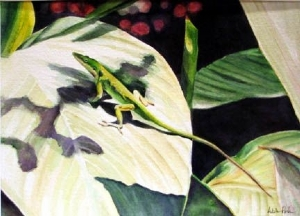 Green Anole by Adele Park Watercolor ~  x