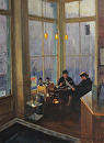 Coffee and News by Bill Farnsworth Oil ~ 24 x 18