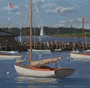 Shelter Island Yacht Club by Bill Farnsworth Oil ~ 11 x 11