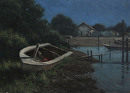 Oyster boat nocturne by Bill Farnsworth Oil ~ 16 x 22