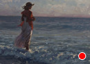 Surf and sunset by Bill Farnsworth Oil ~ 10 5/8 x 141/4