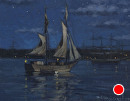 Schooner nocturne by Bill Farnsworth Oil ~ 8 x 10