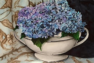 Hydrangeas in Soup Tureen original watercolo by Carrie Waller Watercolor ~ 18 x 24