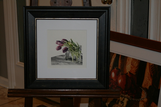 Lavender Tulips FRAMED by Carrie Waller Watercolor ~ 6 x 6