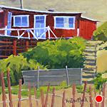 Ramshackle Cottage in Red by Kim VanDerHoek Oil ~ 8 x 8