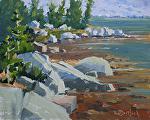Rocky Lakefront by Kim VanDerHoek Oil ~ 8 x 10