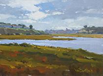 Before the Rain, Newport Back Bay by Kim VanDerHoek Oil ~ 9 x 12