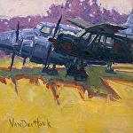 Parked Planes by Kim VanDerHoek Oil ~ 6 x 6