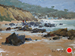 Crystal Cove Shoreline by Kim VanDerHoek Oil ~ 9 x 12