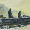 Crabbin' early morning by Kirk Larsen Oil ~ 12 x 24