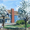1st St flowering pear by Kirk Larsen Oil ~ 9 x 12