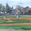 Bethpage baseball by Kirk Larsen Oil ~ 8 x 24