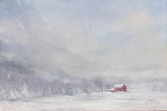 red barn fog -
