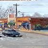 "SOB Rd and Woodbury Rd by Kirk Larsen Oil ~ 5"" x 12"""