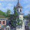 9-16-11 Cold Spring church by Kirk Larsen Oil ~ 9 x 12