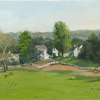Great Scott, Horse farm by Kirk Larsen Oil ~ 12 x 24