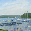 Memorial day , dusk on the harbor by Kirk Larsen Oil ~ 12 x 24