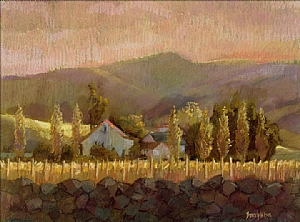 Rock Wall and Vineyards by Beverly Wilson  ~  x