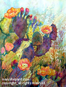 "CACTUS SPLENDOR by Mary Shepard Watercolor ~ Image aize:  29"" x 21""unframed"