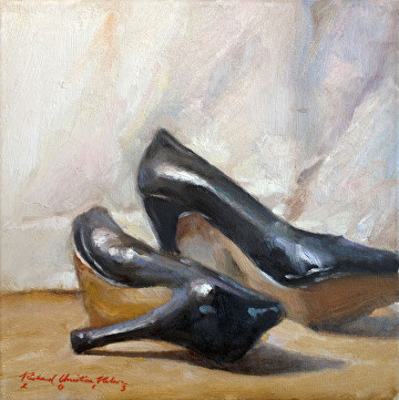 Those Shoes by Richard Christian Nelson Oil ~ 12 x 12
