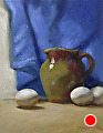 Eggs And Pisgah Pitcher by Richard Christian Nelson Oil ~ 14 x 11