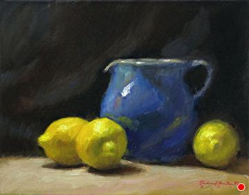 Lemons And Hilton Pitcher by Richard Christian Nelson Oil ~ 11 x 14