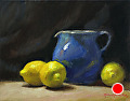 Lemons And Hilton Pitcher by Richard Christian Nelson Oil ~ 11 x 14