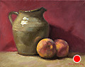 Peaches and Georgia Pitcher by Richard Christian Nelson Oil ~ 11 x 14