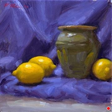 Lemons And Green Pot by Richard Christian Nelson Oil ~ 12 x 12