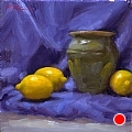 Lemons And Green Pot by Richard Christian Nelson Oil ~ 12 x 12