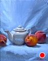 Peaches And Teapot by Richard Christian Nelson Oil ~ 14 x 11