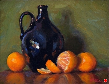 Batchelder Jug With Tangerines by Richard Christian Nelson Oil ~ 11 x 14