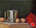 Brown Eggs And Sifter by Richard Christian Nelson Oil ~ 11 x 14