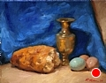 Bread, Eggs, and Brass by Richard Christian Nelson Oil ~ 11 x 14