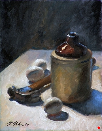 Eggs, Hammer, And Jug by Richard Christian Nelson Oil ~ 14 x 11