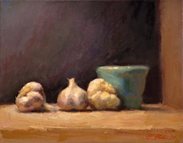 Garlic And Jar by Richard Christian Nelson Oil ~ 11 x 14