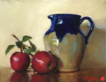 Hilton Vase With Apples by Richard Christian Nelson Oil ~ 11 x 14