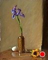 Iris, Egg, And Sunflower by Richard Christian Nelson Oil ~ 20 x 16