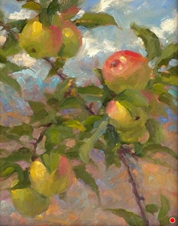 Summer Apples by Richard Christian Nelson Oil ~ 14 x 11