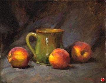 Peaches And Green Mug by Richard Christian Nelson Oil ~ 11 x 14