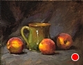 Peaches And Green Mug by Richard Christian Nelson Oil ~ 11 x 14