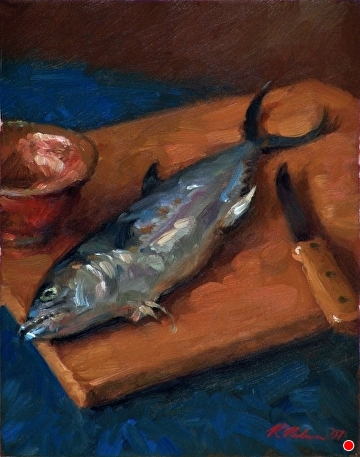 Mackerel And Copper Bowl by Richard Christian Nelson Oil ~ 14 x 11