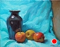 Pisgah Vase And Apples by Richard Christian Nelson Oil ~ 16 x 20