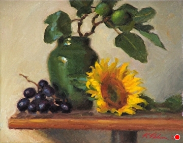 Hilton Vase With Sunflower, Grapes, and Figs by Richard Christian Nelson Oil ~ 11 x 14