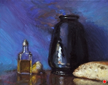 Batchelder Vase With Bread, Oil, And Garlic by Richard Christian Nelson  ~ 16 x 20